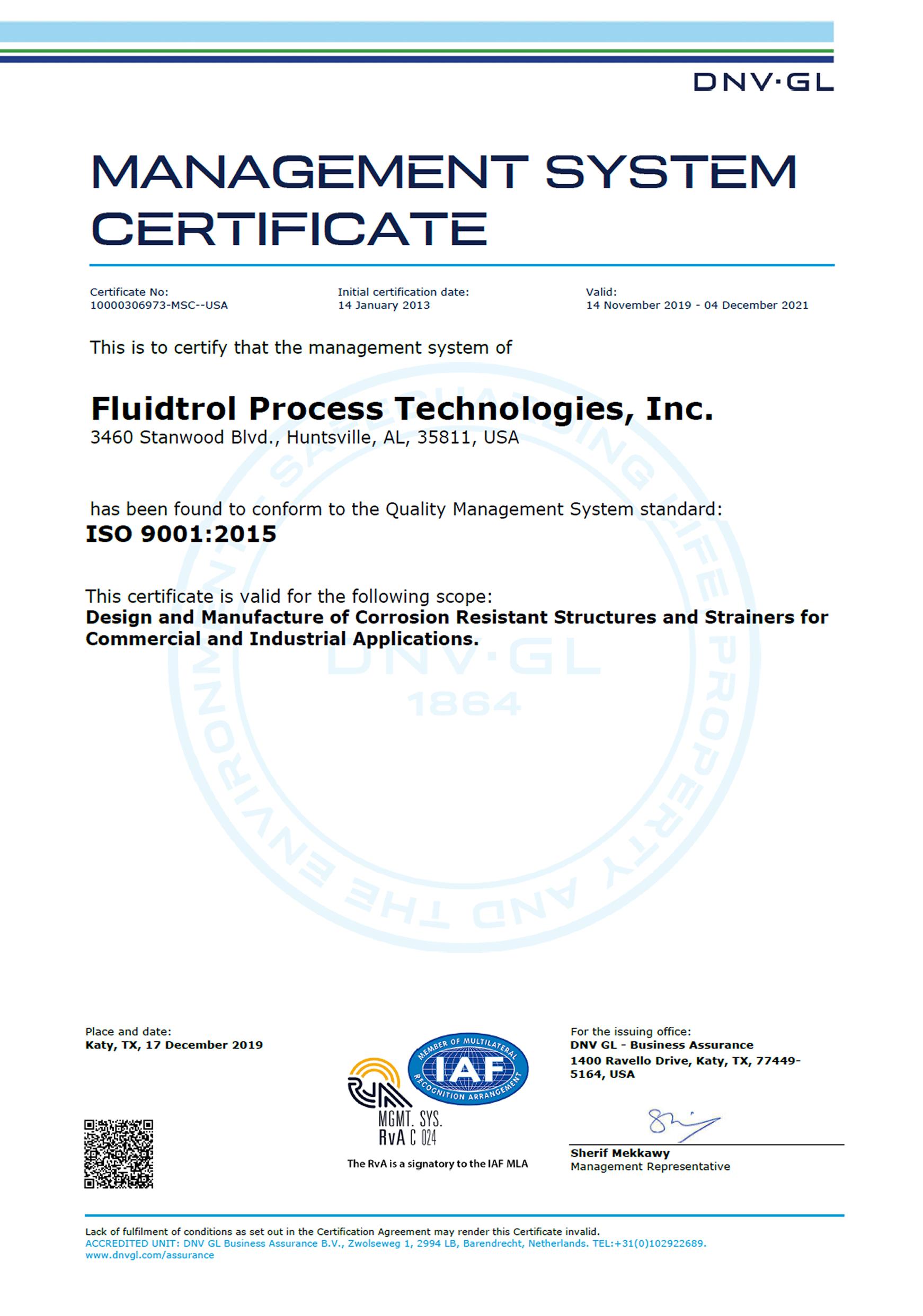 RvA ISO9001:2015 Cetrtificate